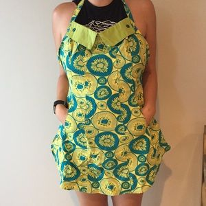 ANTHROPOLOGIE blue and yellow fruit print apron